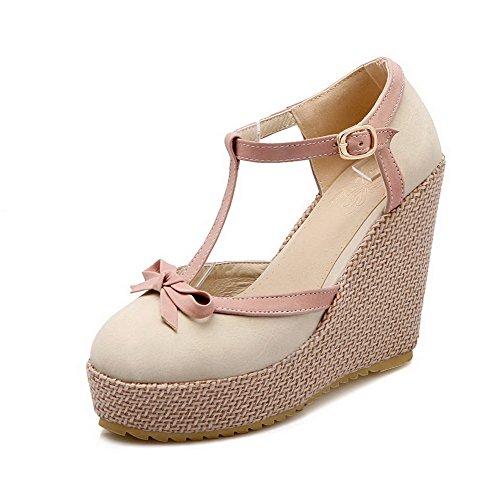 VogueZone009 Damen Rund Zehe Hoher Absatz Gemischte Farbe Ziehen auf Pumps Schuhe, Cremefarben, 39
