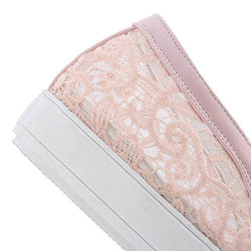 AgooLar Femme Tire Rond à Talon Correct Gaze à Filet Couleur Unie Chaussures Légeres Rose