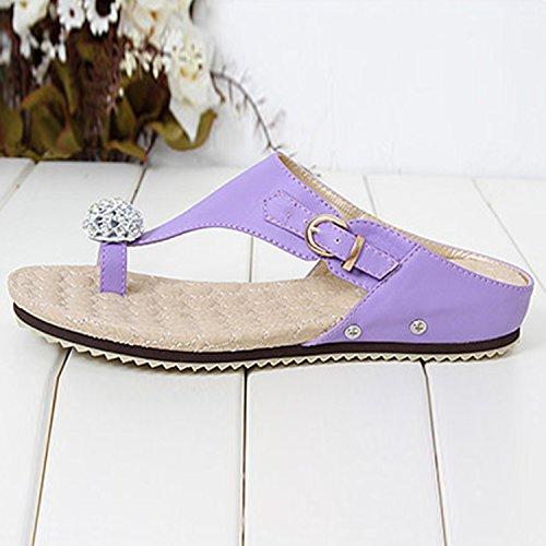 Oasap Damen Slingback Strass Spang Sandalen Purple