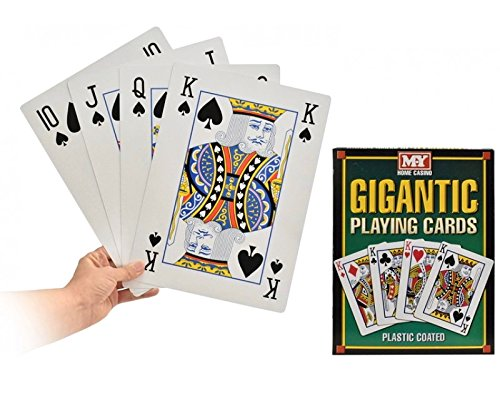 A4 Giant Jumbo Plastic Coated Playing Cards Deck 28 cm Outdoor Garden Family Party BBQ Game by MY (Playing Decks Fun Card)