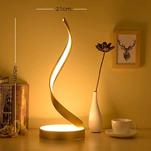 (DGF LED Augenschutz Tischlampe, Schlafzimmer Nacht Kreatives Hinweis Lernen Jobs Leselicht (L21cm * H48cm) ( Farbe : Gold ))