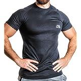 NATURAL ATHLET Thermo T-Shirt Herren Fitness kurzarm mit rundhals tailliert Slim Fit für Sport und Freizeit Training Gym Viloft Elasthan in schwarz