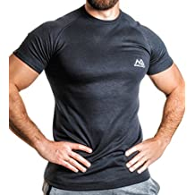 NATURAL ATHLET Thermo T-Shirt Herren Fitness kurzarm mit rundhals tailliert Slim Fit für Sport und Freizeit Training Gym Viloft Elasthan in schwarz