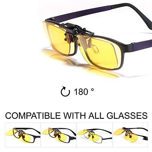 KLIM OTG Lunettes Clip on Filtre Lumière Bleue Nouveau - Haute Protection pour Écrans - Lunettes Gaming PC Mobile TV - Anti Fatigue Anti UV Anti Lumiere Bleue [ Nouvelle 2019 Version ]