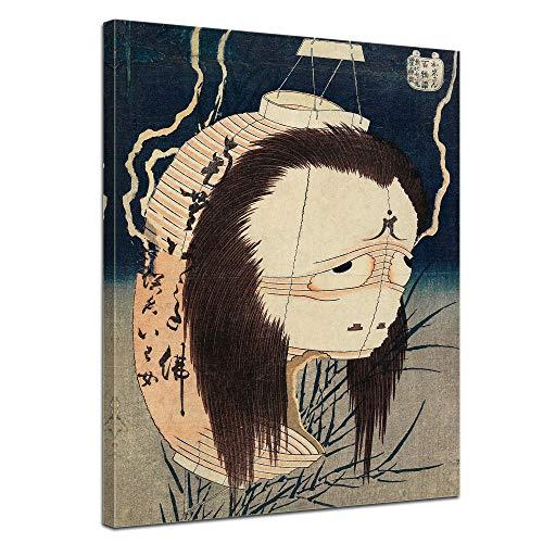 Wandbild Katsushika Hokusai Der Laternengeist IWA - 60x80cm hochkant - Alte Meister Berühmte Gemälde Leinwandbild Kunstdruck Bild auf Leinwand