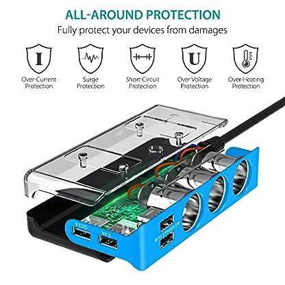 CHGeek-Auto-Ladegert-120W-12V24V-USB-KFZ-Ladegert-68A-4-USB-Ports-Multi-Funktion-Power-Auto-Adapter-mit-3-Fach-KFZ-Zigarettenanznder-Verteiler-Splitter-fr-GPS-und-Mehr