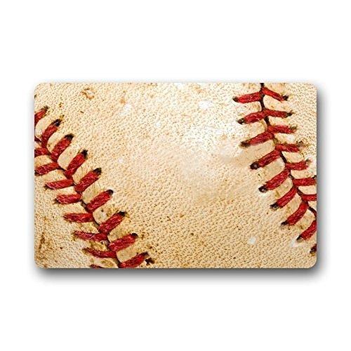 . 01Custom Baseball Hintergrund Home Fußmatten Top Stoff & Gummi Badezimmer Welcome Mats Fußmatte Teppich Teppiche Innenbereich/Außenbereich (59,9x 39,9cm) ()