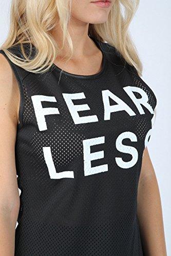 Damen Mädchen ärmel Fearless Airtex Top EUR Größe 36-42 Schwarz