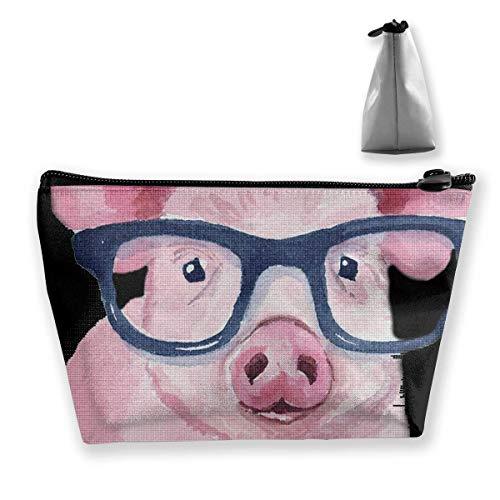 Aquarell Schwein Mit Sonnenbrille Und Fliege Kosmetiktaschen Tragbare Reise Make-Up Pouch Toiletry Organizer