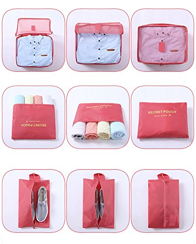 Belsmi Reise Kleidertaschen Set 7-teilig Reisetasche in Koffer Reisegepäck Organizer Kompression Taschen Kofferorganizer Mit Schuhbeutel (Grün) Solid Rose Rot