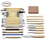Eagles 30pcs outils poterie,Kit Sculpture en argile,Comprend des shapers de couleur argile, des outils de modélisation et un couteau de sculpture en bois