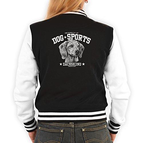 Lady Jacke ::: Dog Sports Dachshund ::: mit USA Motiv auf der Rückseite Schwarz