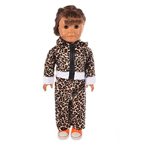 Puppen Kleidung , YUYOUG 18 zoll Puppe Kleidung Zubehör Trendy Leopard Sterne Reißverschluss Hoodie Pyjamas Nachtwäsche Outfit Für 18 zoll American Girl Puppe (A)