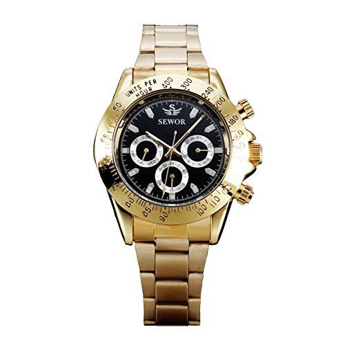 Herren mechanische Automatik Armbanduhr Uhren schwarz Zifferblatt golden