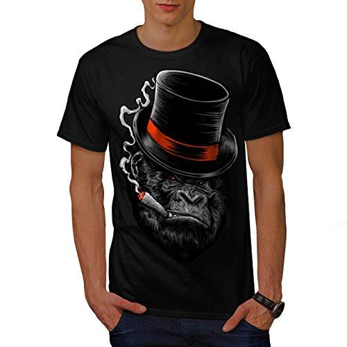 Gorilla Mafia Fumo Scimmia Uomo Nuovo Nero L T-Shirt | Wellcoda