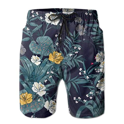 atopking Navy Hibiscus Tropical Floral Herren-Badehose Beach Shorts mit Mesh-Futter Boardshort -