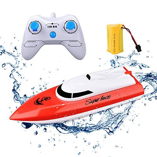 KINGBOT Rc Boot Fernbedienung Boot für Pools & Seen 2,4 GHz 10 km / h Hochgeschwindigkeitsradio Elektro-Rennboot für Kinder Erwachsene Jungen Mädchen mit 20 Minuten Spielzeit (rot)