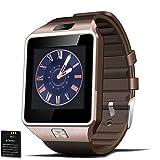 Padgene Smartwatch Bluetooth Handy Uhr GSM SIM Karte mit Kamera für Android IOS iPhone DZ09 (Gold)