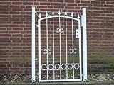 Hoftor Gartentor Pforte Tor weiß mit Spitzen Breite 100cm x Höhe 150cm