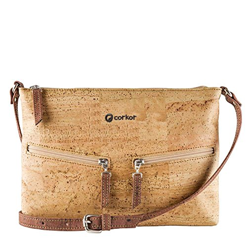 Travel Cross-Body Bag for Women - Front Pockets - Vegan Cork from Corkor