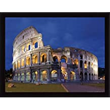 Roma Póster Impresión Artística con Marco (Madera DM) Negro - Coliseo En El Crepúsculo (80 x 60cm)