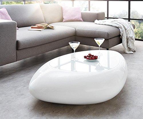 DELIFE Wohnzimmertisch Rock Hochglanz Weiss 118x80 cm Glasplatte Couchtisch