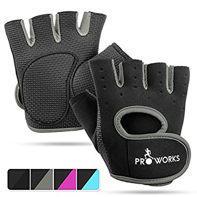 Proworks Ladies Fingerless Gym Gloves   Padded Weight Lifting Gloves for Women - Ideal as Cycling Gloves or for Lifting, Training, CrossFit, Rowing, Yoga & More : everything 5 pounds (or less!)