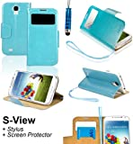 SAVFY Premium Samsung Galaxy S4 SIV I9500 Flip S-View Wallet Stand PU Leather Case Cover, With Screen Protector + Stylus Pen (Flip Wallet Stand Sky Blue)