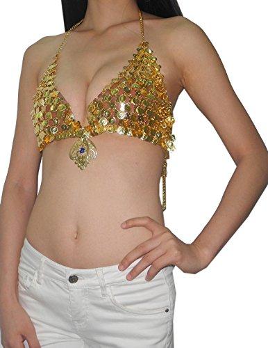 Damen Sexy Exotic Belly Dance Metall Münzen Kostüm BH Top mit Blue Stone - Gold