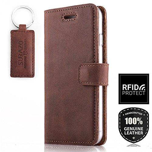 SURAZO RFID - Premium Vintage Ledertasche Schutzhülle Wallet Case aus Echtesleder Nubukleder Farbe Nussbraun für Samsung Galaxy A50