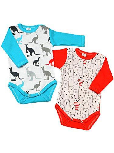 (Klekle Baby Mädchen Langarm Body 2er Set Bär Rot/Känguru Blau 22794 Größe 110)