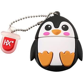 HX 8GB/16GB/32GB Children's Interesting USB 2.0 Flash Drive Soft Silicone Fun Cartoon Animal Style USB Memory Stick Data Storage Pendrive Novelty Gift for All Ages (32GB, Penguin)