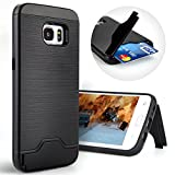Galaxy S7 Edge Case,Dual Layer Shock Absorption Kickstand Wallet Case Protective Card Holder Slim for Samsung Galaxy S7 Edge (2016) -- Black