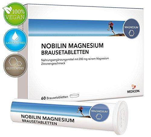 NOBILIN Magnesium 60 Brausetabletten – VEGAN – 200 mg reines Magnesiumcarbonat mit fruchtigem Zitronengeschmack • 2-Monatsvorrat • Bekannt aus Ihrer APOTHEKE (Brausetabletten Trinken)