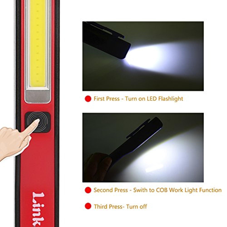 Red three trees Lampe de Travail USB Rechargeable Lampe Inspection COB Torche Lampe de Poche LED Ultra Puissante Camping Lampe pour Auto Garage Atelier Bricolage avec Clip magn/étique