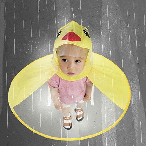 - Mingfa süßer Comic-Regenmantel-Schirm, UFO-Regenmantel, faltbar, wiederverwendbar, wasserdichter Poncho, für den Kopf, Draußen, für Kinder, Jungen und Mädchen, S, gelb, 1