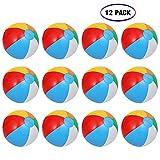 ThinkMax Wasserball Aufblasbar, 12 Stück 10 '' Badeball Schwimmball für Sommer im Freien und Schwimmen Party Supplies
