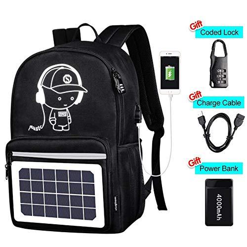 SOFIALXC Rucksack Mit Abnehmbaren Solar Panel & USB Ladeanschluss Anti-Diebstahl-Sperre, wasserdichte Anime Schwarz Schule Tasche Daypack Reise Laptop Tasche -