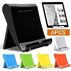 6 PCS Support de tablette, Support Téléphone, support de téléphone , Téléphone Tablette Stand de Téléphone Pliable de Universel Bureau Réglable Dock Multi-Angles Fixation Support Plat Réglable JAANY