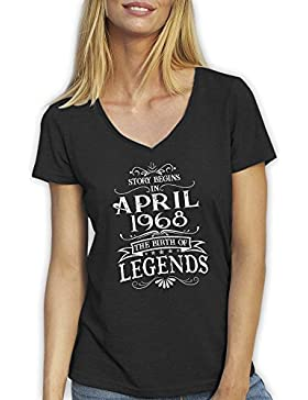 Friendly Bees Story Begins in April 1968 The Birth of Legends Birthday Gift T-Shirt Camiseta Cuello V Para la...