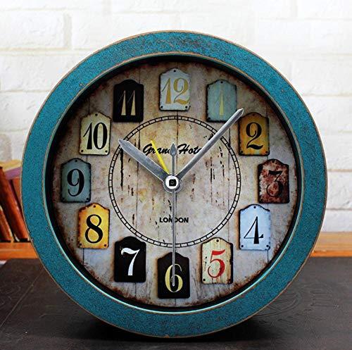 CWLLWC tischuhr standuhr,Kaminuhr Retro-alte Holz kleine Uhr Schlafzimmer Studie Desktop-Sitz - Alte Holz Uhr
