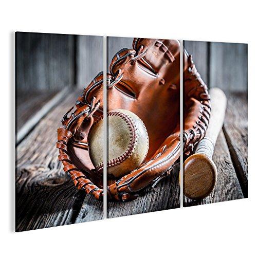 Cuadro Cuadros Envejecido para jugar béisbol Impresión sobre lienzo - Formato Grande - Cuadros modernos GWW