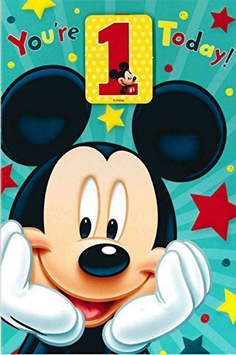 CARLTON Disney MICKEY MOUSE 1st cumpleaños con placa libre 418902