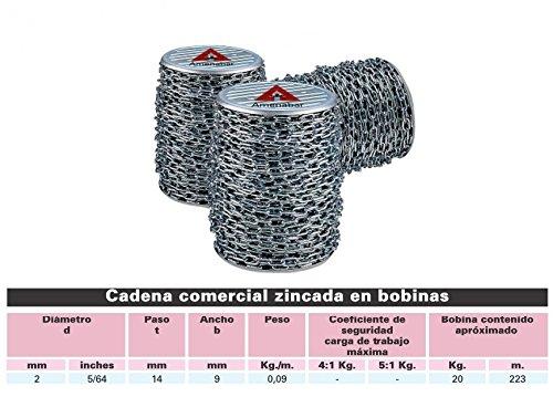 ECOSPAIN Bobina Cadena Zincada Amenábar - 2 mm - 220mt - Ref 59186