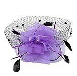 Donna Fiore Retina Piume Mesh Fascinator Matrimonio Retro Cappello (viola)