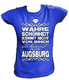 Artdiktat Damen T-Shirt - Wahre Schönheit Kommt Nicht von Innen - Sie Kommt Aus Augsburg Größe XL, Blau