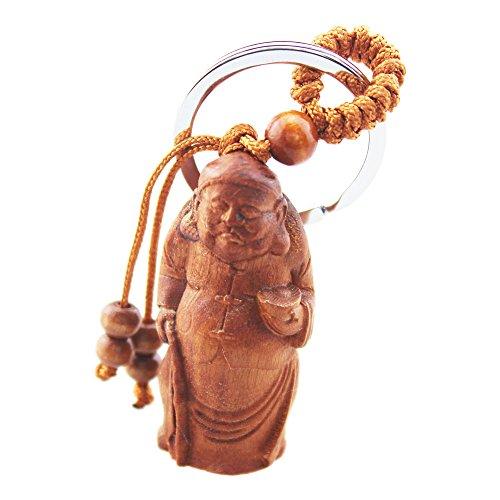 foy-mall Vintage Chinese Landlord Chinesische Jujube Holz geschnitzt Herren Frauen Schlüsselanhänger Ring M1215 -
