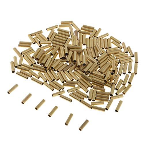 IPOTCH 200pcs Angelschnur Aluminium Crimp Ärmel Kupferrohr 1,0mm bis 2,5mm Seefischerei Zubehör Schnur Rohr - Golden 2,5mm