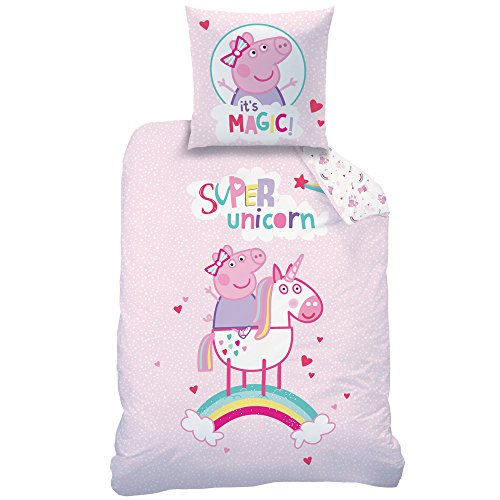Peppa Pig Niña de Cama · Cama Infantil · Unicornio & Arco Iris · Peppa Pig Super Unicorn · Reversible Cama Nórdica · Almohada 80x 80+ 135x 200cm; 100% Algodón