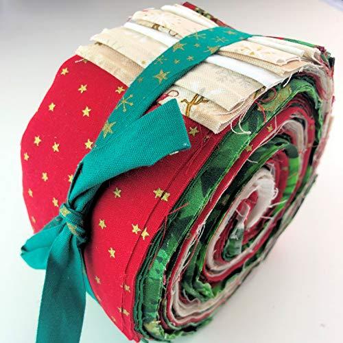 Lucky Dip Gelee-Rolle aus 100% Baumwolle, traditionelles Weihnachtsmuster, 42 Streifen mittelschwerer Baumwolle -
